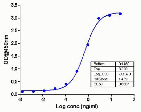 Sandwich ELISA analysis was performed using ABfinity™ EGF Recombinant Rabbit Monoclonal Antibody at 2 µg/mL. A ten point standard curve was plotted with full length active recombinant EGF protein as a standard with concentrations ranging from 0.3 pg/mL to 12.5 ng/mL. An anti-EGF antibody conjugated to biotin was used as a detector at a concentration of 2 µg/mL. A non-linear regression analysis (4 PL) was performed and LOD and LOQ for the antibody pair was determined.