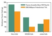 Membrane protein yields from common cell lines obtained with two popular extraction kits